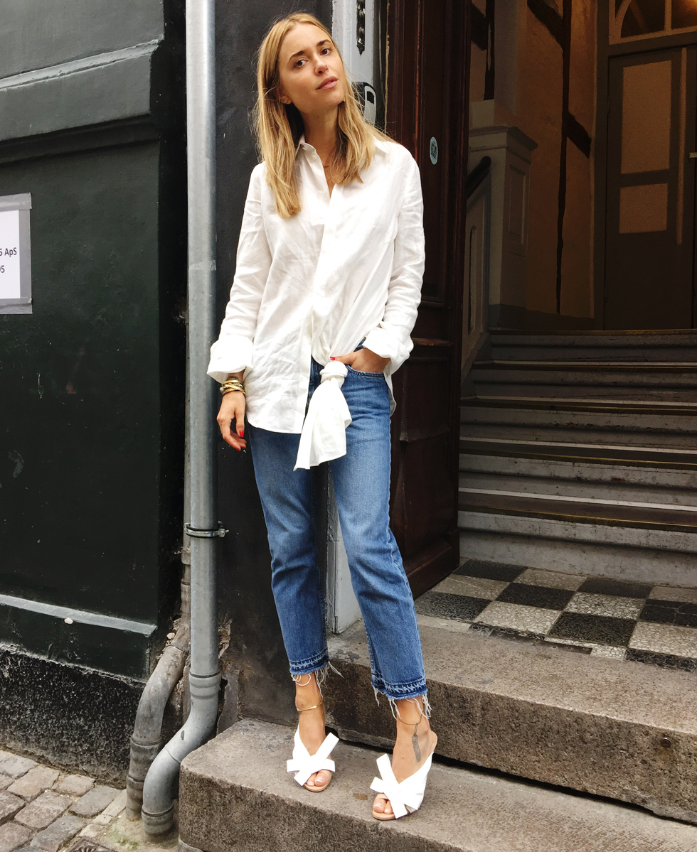 Pernille Teisbaek White Button Shirt + Bow Sandals