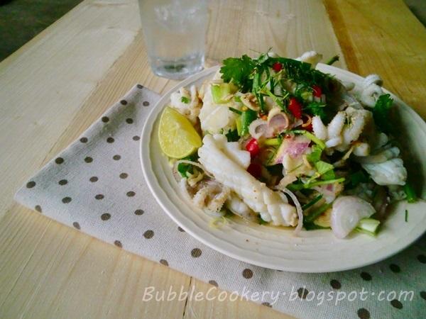 Squid Lemongrass spicy salad recipe