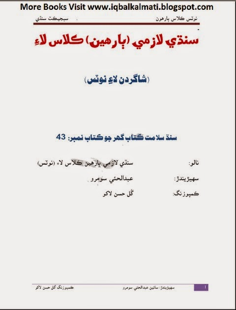 Sindhi Lazmi Tewelve 12th Class Notes