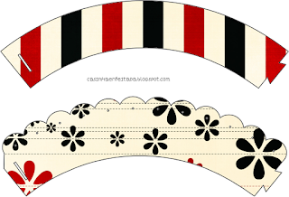 Minnie with Red, Yellow and Black Stripes: Free Printable Mini Kit.