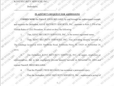 Kent Security admissions request from plaintiff.