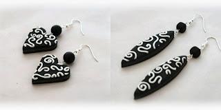 Monochrome Filigree earrings handmade from polymer clay by Lottie Of London