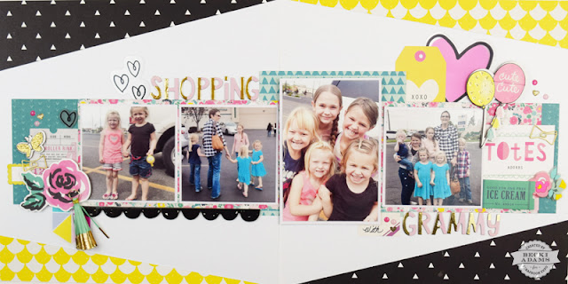 Double Page Layout by Becki Adams with a video tutorial #scrapbooking #YouTube #processvideo #doublepagelayout