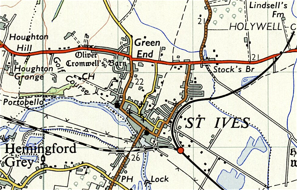 Map of St Ives, Cambridgeshire 1960