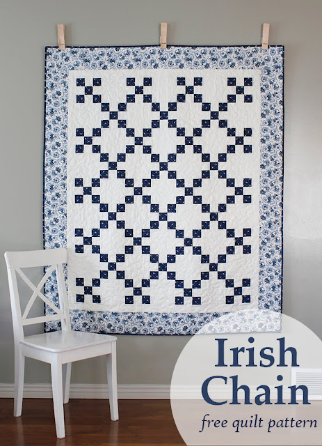 Irish Chain quilt - a free PDF quilt pattern from A Bright Corner