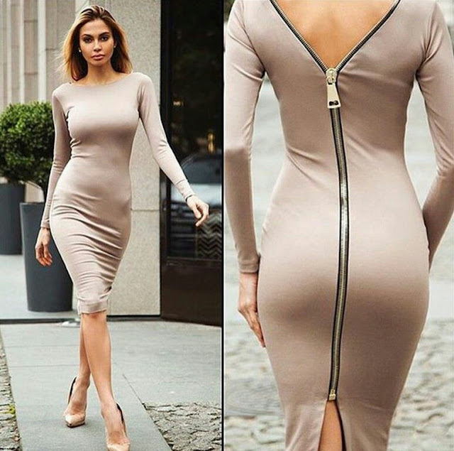 Zipper casual knee length dress