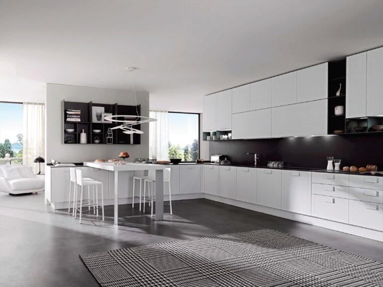 Cocinas en blanco y negro colores en casa for Piso cocinas minimalistas