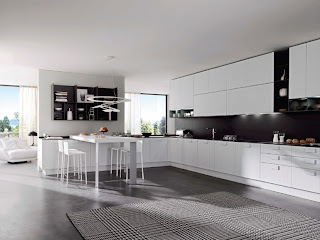Modelo de cocina en blanco y negro