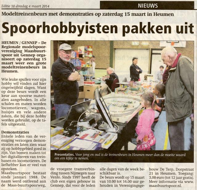 Een scan van het krantenartikel uit De Maasdriehoek van dinsdag 4 maart 2014 met daarin de aankondiging van een modeltreinenbeurs met demonstraties op zaterdag 15 maart 2014 in Heumen georganiseerd door de regionale modelspoorvereniging Maasbuurtspoor.
