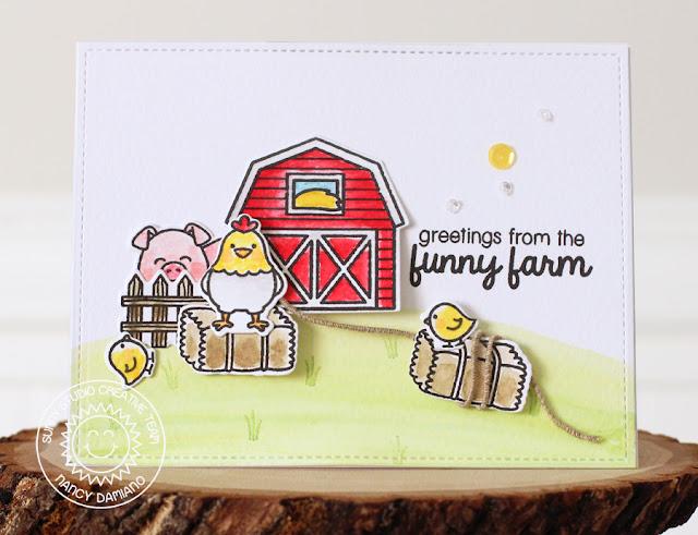 Sunny Studio Stamps: Barnyard Buddies Simple Farmyard Charm Card by Nancy Damiano