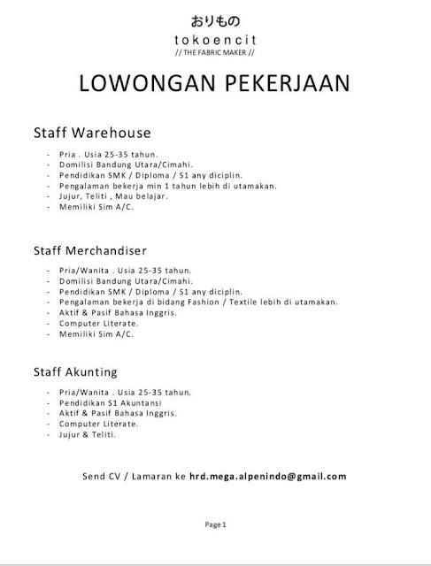 Lowongan Kerja Staff Bandung