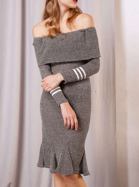 Gray Sexy Mermaid Off Shoulder Long Sleeve Sweater Dress
