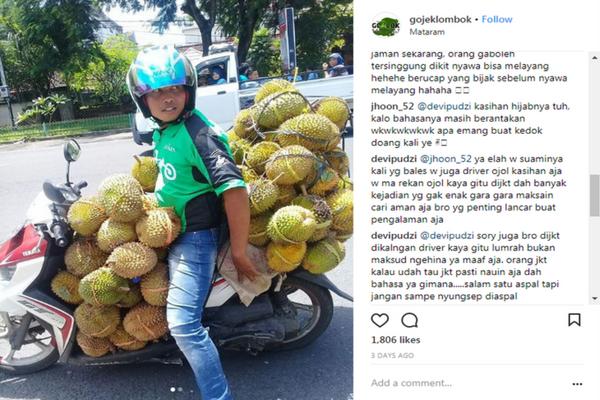 Sepi Orderan, Driver Ojek Online di Lombok ini Rela Bawa 90 Durian
