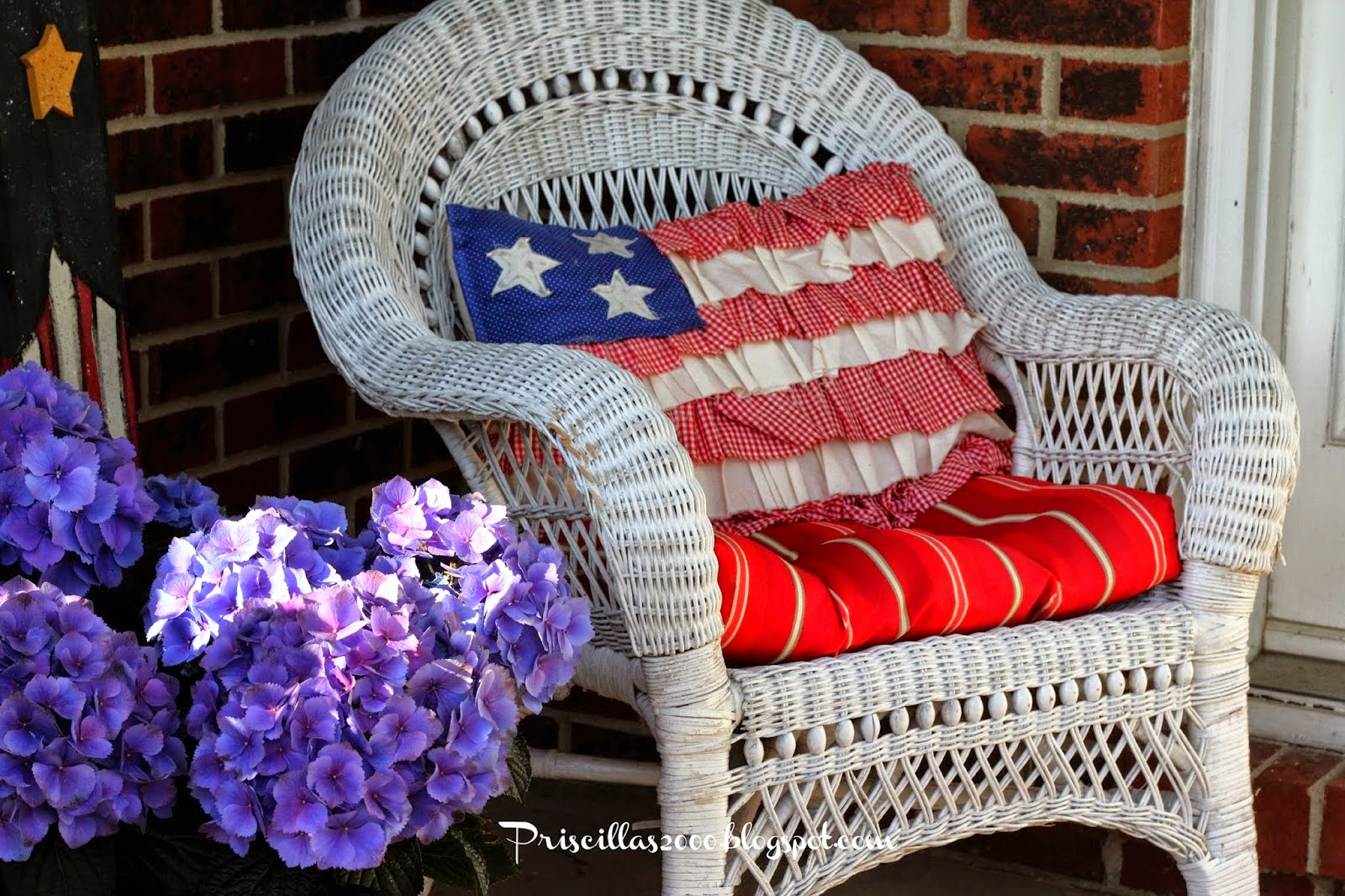 Summer Porch: Red, White, Blue, and Daisies