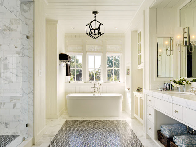 Marble master bath in Napa Valley farmhouse by Ken Fulk in C Magazine