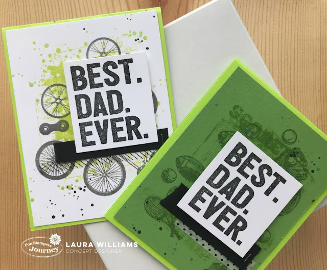 Winners and Your Day Stamp Sets are the perfect pair to create handmade Father's Day cards with Fun Stampers Journey. Laura Williams, www.lauralooloo.blogspot.com shares two simple and sporty Father's Day Card ideas