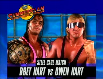 WWF / WWE - Summerslam 1994: Bret 'The Hitman' Hart defended his WWF Championship against younger brother Owen