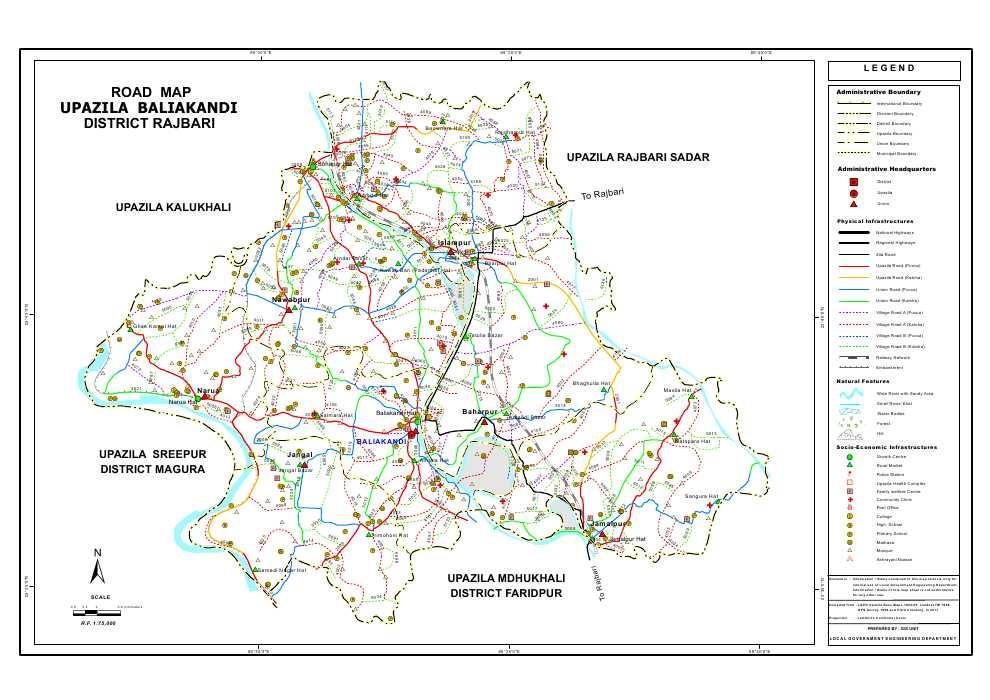Baliakandi Upazila Road Map Rajbari District Bangladesh