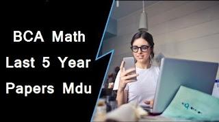Mdu BCA 2nd Sem Math Question Papers