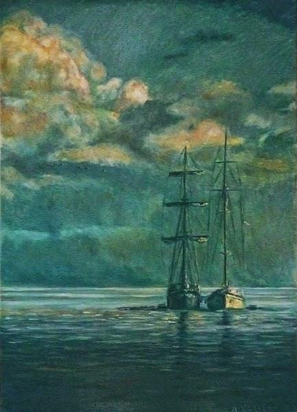 Pintura al óleo de dos veleros abarloados
