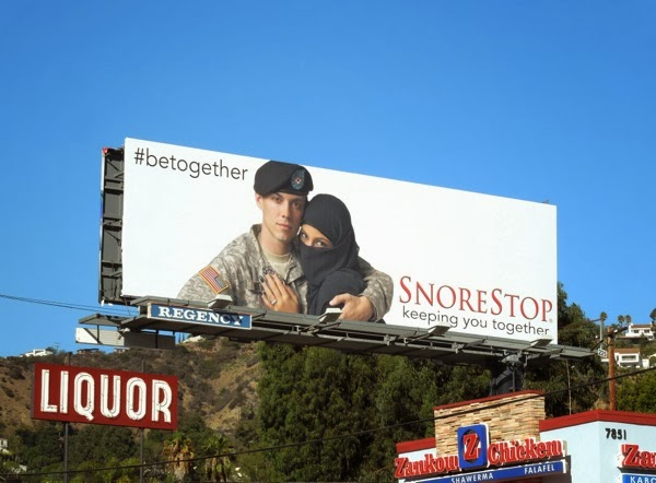 SnoreStop US Soldier Muslim woman Be Together billboard