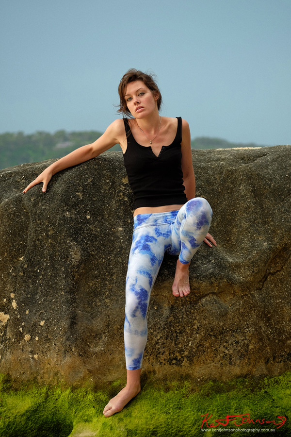 Full length fitness modelling at the beach, rock climbing - Photographed by Kent Johnson, Sydney, Australia.