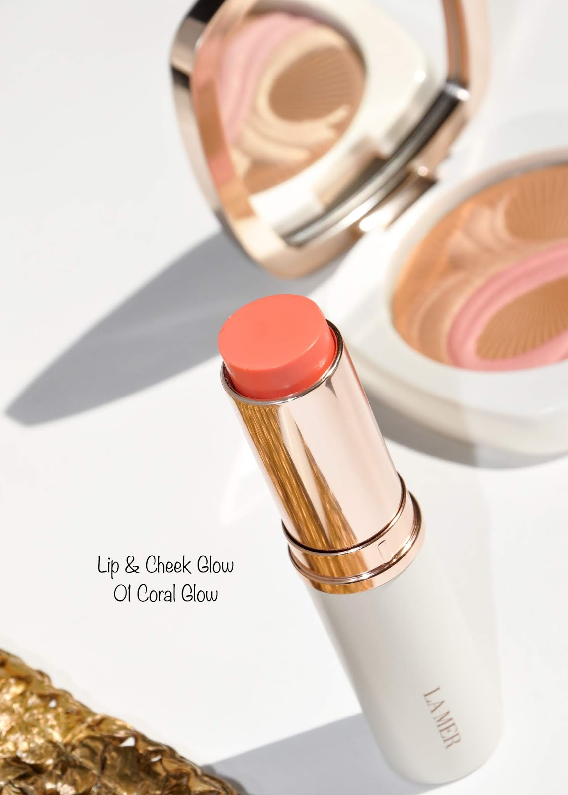 la mer cheek and lip glows swatches