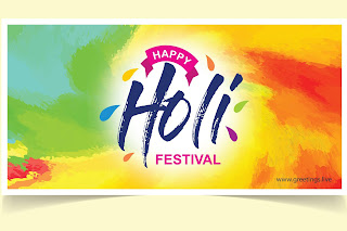 Happy holi festival greetings card Image
