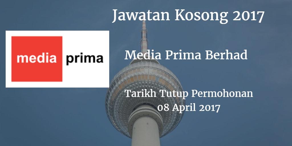 Jawatan Kosong Media Prima Berhad 08 April 2017