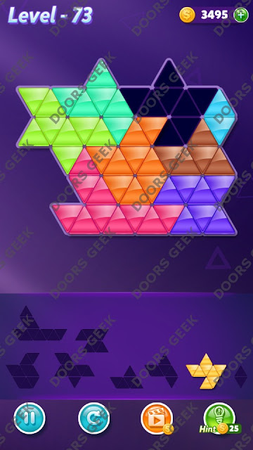 Block! Triangle Puzzle 8 Mania Level 73 Solution, Cheats, Walkthrough for Android, iPhone, iPad and iPod
