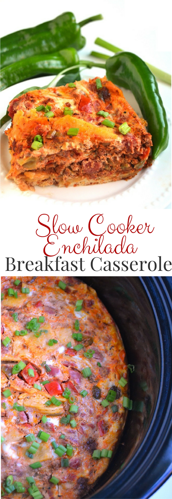 Slow Cooker Enchilada Breakfast Casserole is a delicious egg bake made in the crockpot with chorizo, sauteed bell peppers, tomatoes and corn tortillas! www.nutritionistreviews.com