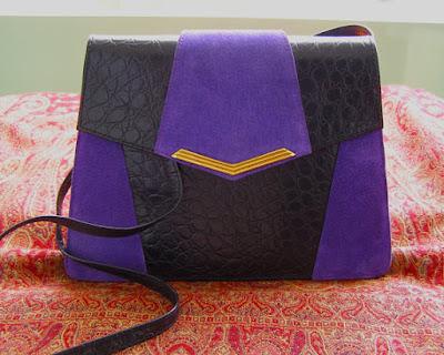 cuir style croco-cuir noir-cuir violet-daim violet