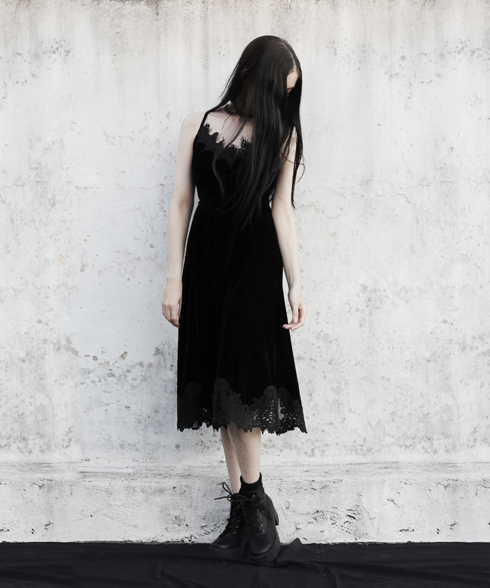 outfit, black, velvet, lace, dress, metisu, lune, nocturne,