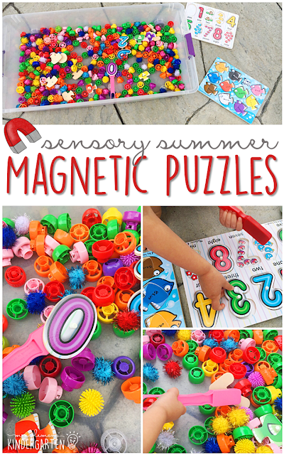Spice up your puzzle play with this magnetic puzzle sensory bin search. This is the perfect outdoor activity for summer tot school, preschool, or kindergarten!