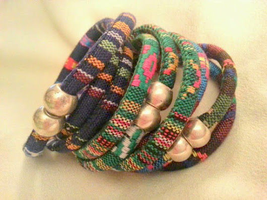 Cotton Cord 3 Wrap Bracelets with a magnetic catch