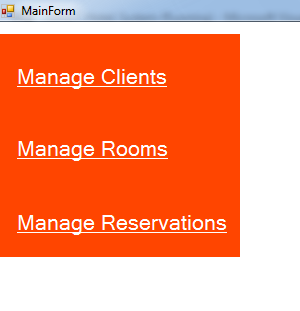 vb.net hotel management system - main form menu