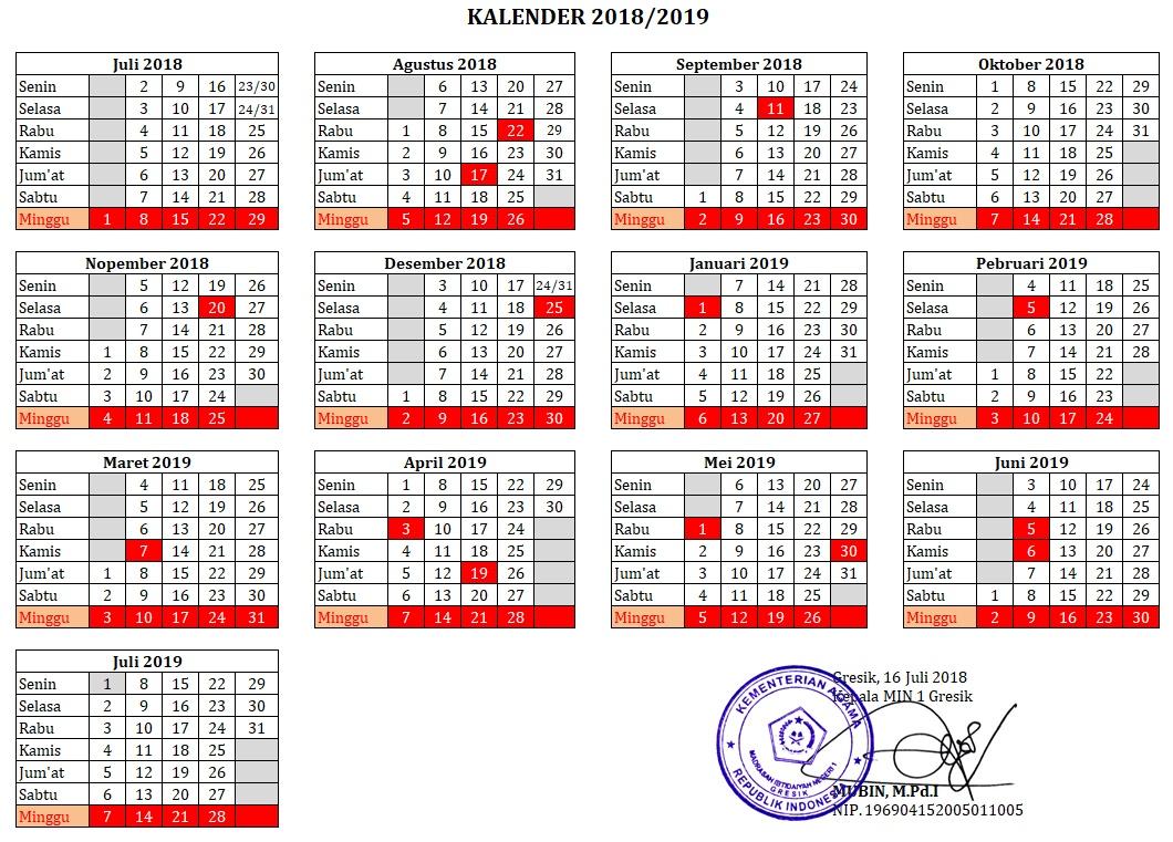Kalender Tahun Pelajaran 2018/2019