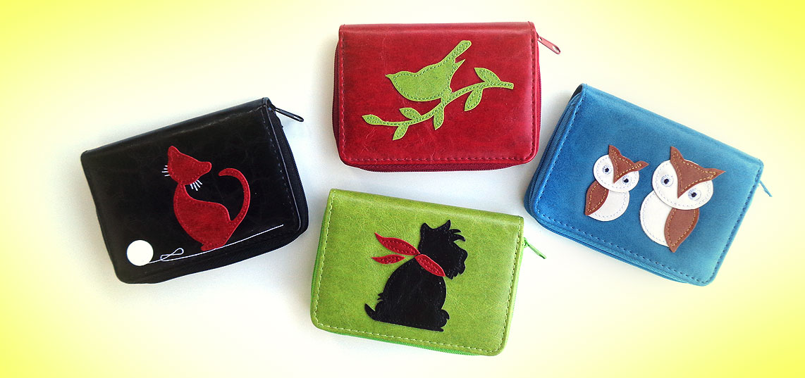 LAVISHY vegan leather card holers from Adora collection features fun applique motifs