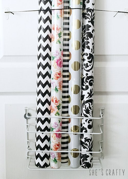 Gift Wrap Organizer - how to store gift wrap rolls in unused space behind the door