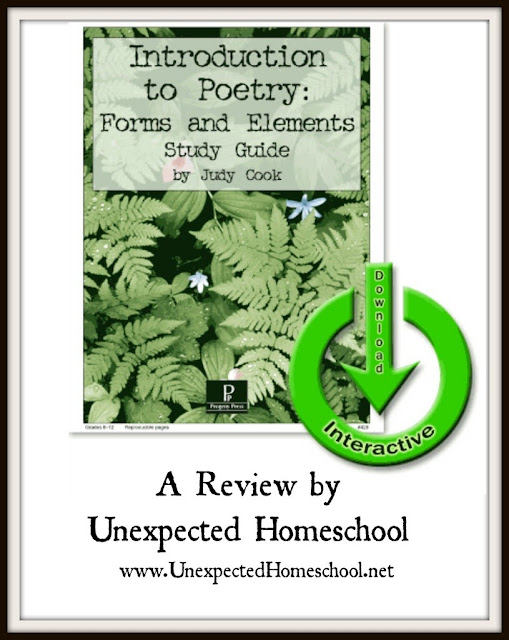 Unexpected Homeschool: Introduction to Poetry from Progeny Press. High school poetry made easy and interesting!