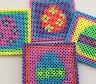 Hama bead Easter coasters