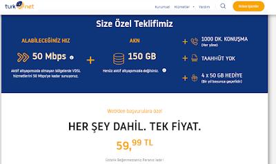TurkNet 100Mbps  Üstelik 1 Ay Ücretsiz(Turknet Promosyon kodu) !