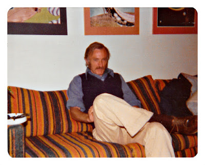 Actor John F. Kearney frowns on a Herculon couch at 1776 Sweetwood Drive in Broadmoor, California in 1976
