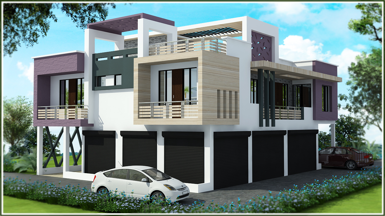 Front Elevation Designs Latest : Triplex house elevations joy studio design gallery