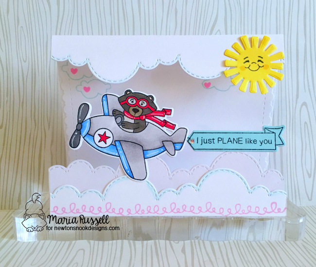 Bear driving Airplane Card by Maria Russell | Winston Takes Flight stamp set and Sky Borders die set by Newton's Nook Designs #newtonsnook