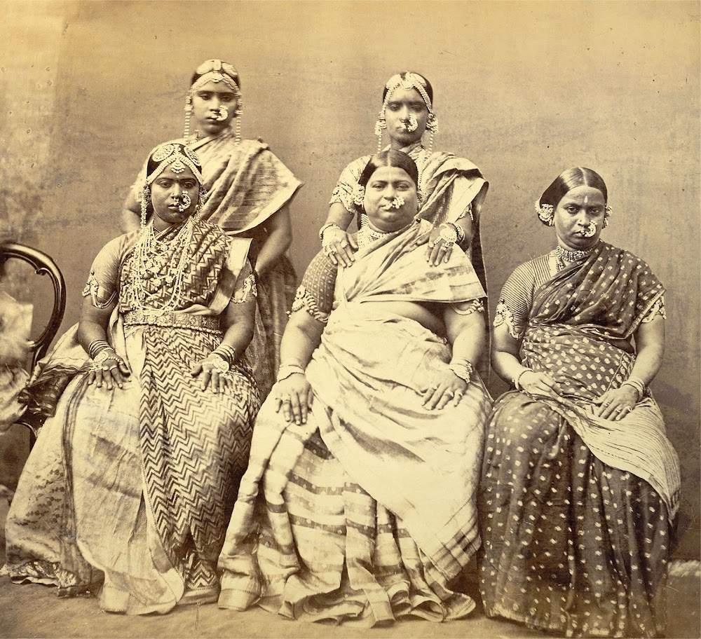 Studio Portrait of Five Women Wearing Jewellery, Madras (Chennai) - c.1870's