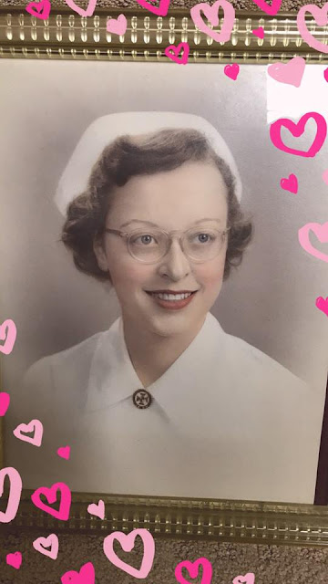 color tinted photo of Ruth DeHaven earning her nursing degree in 1951