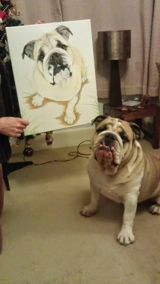 Bulldog gift and Bulldog paintings make the perfect present.