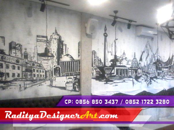 Lukisan untuk cafe yang kompeten mural cafe bandung for Mural hitam putih