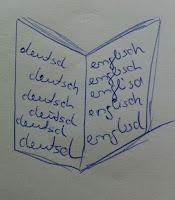 Skizze eines Buches in zwei Sprachen